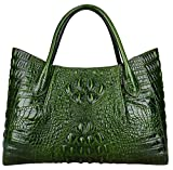 Pijushi Women Embossed Crocodile Handbag Designer Top Handle Handbags Holiday Gift 22198 (Green)