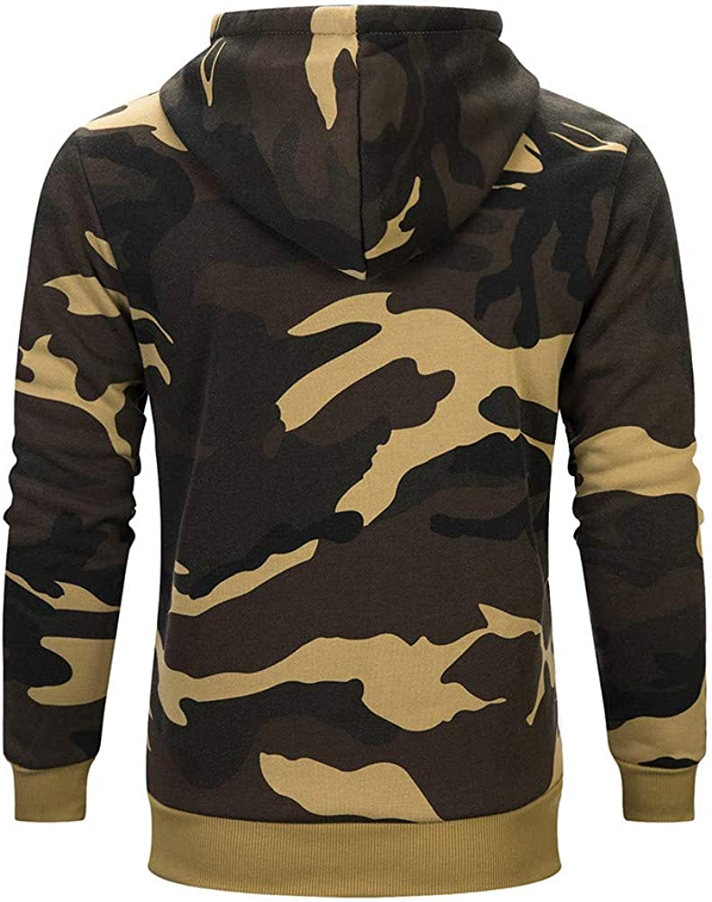 hower Mens Sherpa Lined Hood Oversized Camouflage Athletic Fit Outwear Coat Khaki X-Large