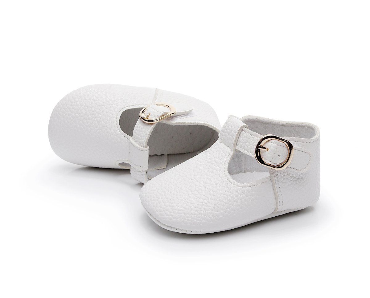 HONGTEYA Baby Girls Pure T-Strap Moccasins - Newborn First Walker Mary Jane PU Soft Soled Shoes (Size:12-18 Months/US 6/5.12''/See Size Chart, White) by HONGTEYA (Image #6)
