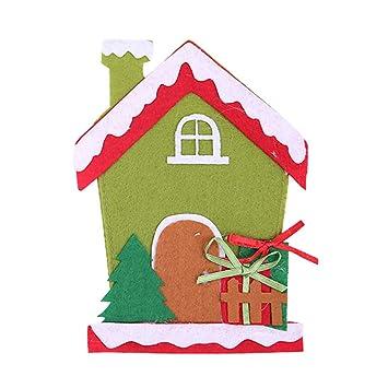BESTOYARD Tenedores de los Cubiertos de Navidad Bolsillos Casa Patrón Paño Tenedores de los Cubiertos de Navidad Decoración de la Mesa: Amazon.es: Hogar