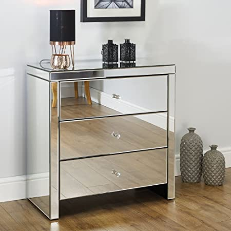 Mirrored Bedroom Furniture Happy Beds Seville Silver 3 Drawer Chest Height 82 Cm Width 80 Cm Depth 40 Cm Amazon Co Uk Kitchen Home