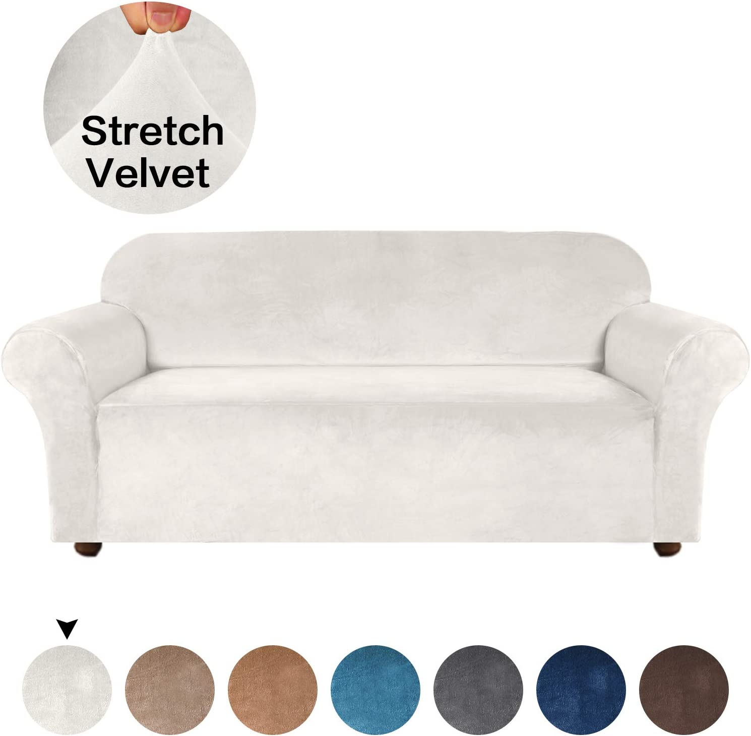 Turquoize Velvet Sofa Slipcover High Spandex Sofa Cover/Lounge Covers/Couch Covers for 3 Cushion Couch Ivory Sofa Protector for Dogs High Stretch Furniture Protector Cover for Sofas (Sofa, Ivory)