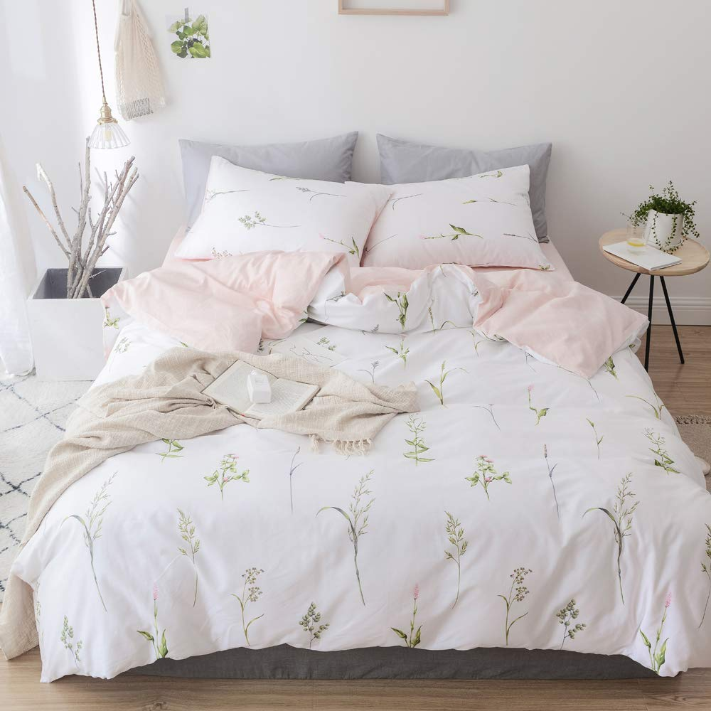 Plant Duvet Cover Floral Girls Bedding Set Twin Botanical Cotton Comforter Cover Twin for Kids Women Pink Bedding Duvet Cover Allergy Protector White Teens Quilt Cover with Hidden Zipper, No Comforter