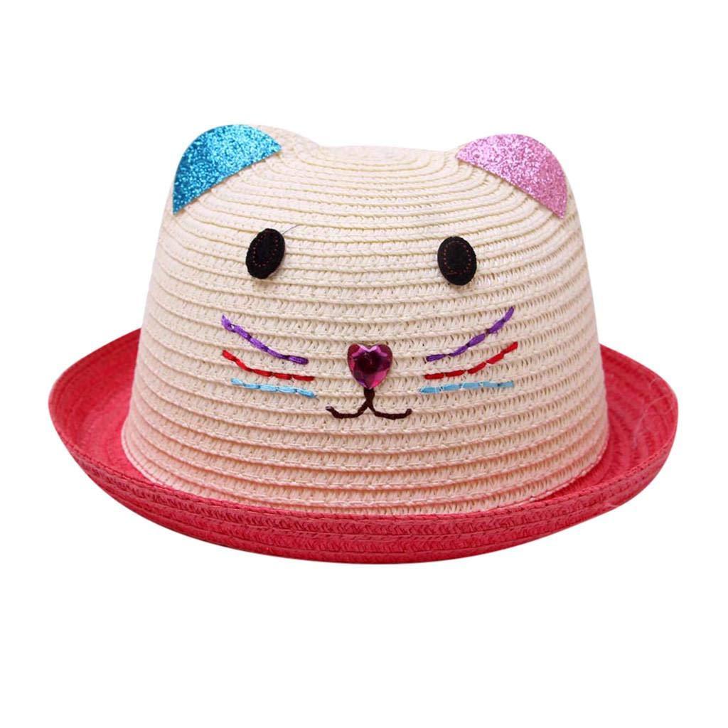 QUICKLYLY Sombreros Gorras Beb/é De Dibujos Animados Verano para Ni/ños Sombrero Transpirable Paja Ni/ña Ni/ño
