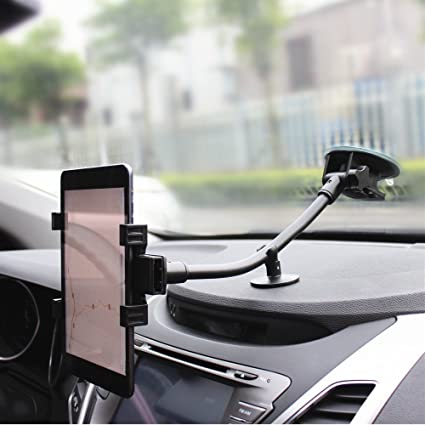Brila Long Arm Smartphone and Tablet Universal Windshield Car Mount Holder  with Dashboard Support Base, Long Arm Car Cradle for Ipad Mini Series, and