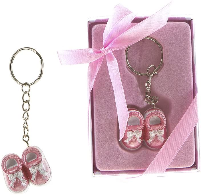 Lunaura Baby Keepsake – Set of 12 Girl Baby Shoes Key Chain Favors – Pink