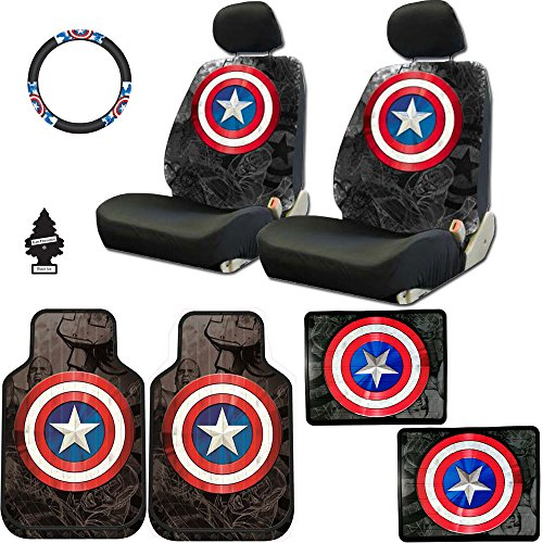 New Design 10 Pieces Marvel Comic Captain America Car Seat Covers Floor Mats and Steering Wheel Cover Set with Air Freshener