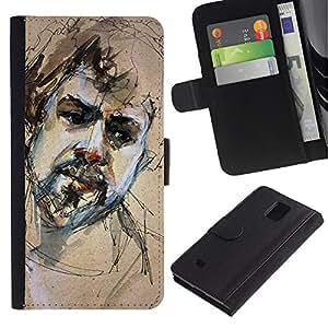 For Samsung Galaxy Note 4 IV Case , Sketch Portrait Beard Man Sad - la tarjeta de Crédito Slots PU Funda de cuero Monedero caso cubierta de piel