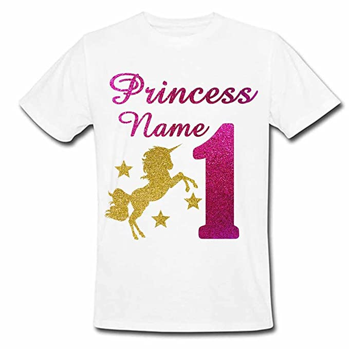 355126a87 Sprinklecart Lovely Unicorn 1st Birthday T Shirt | Custom Name Printed  Birthday Dress for Your Princess