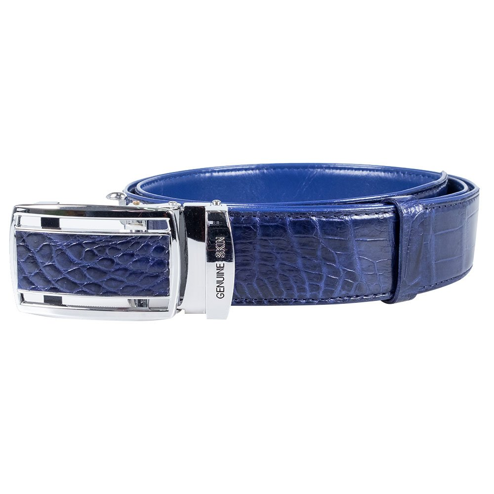 Genuine Crocodile Belly Skin Leather Automatic Buckle Luxury Mens Belt by Kanthima (Blue)