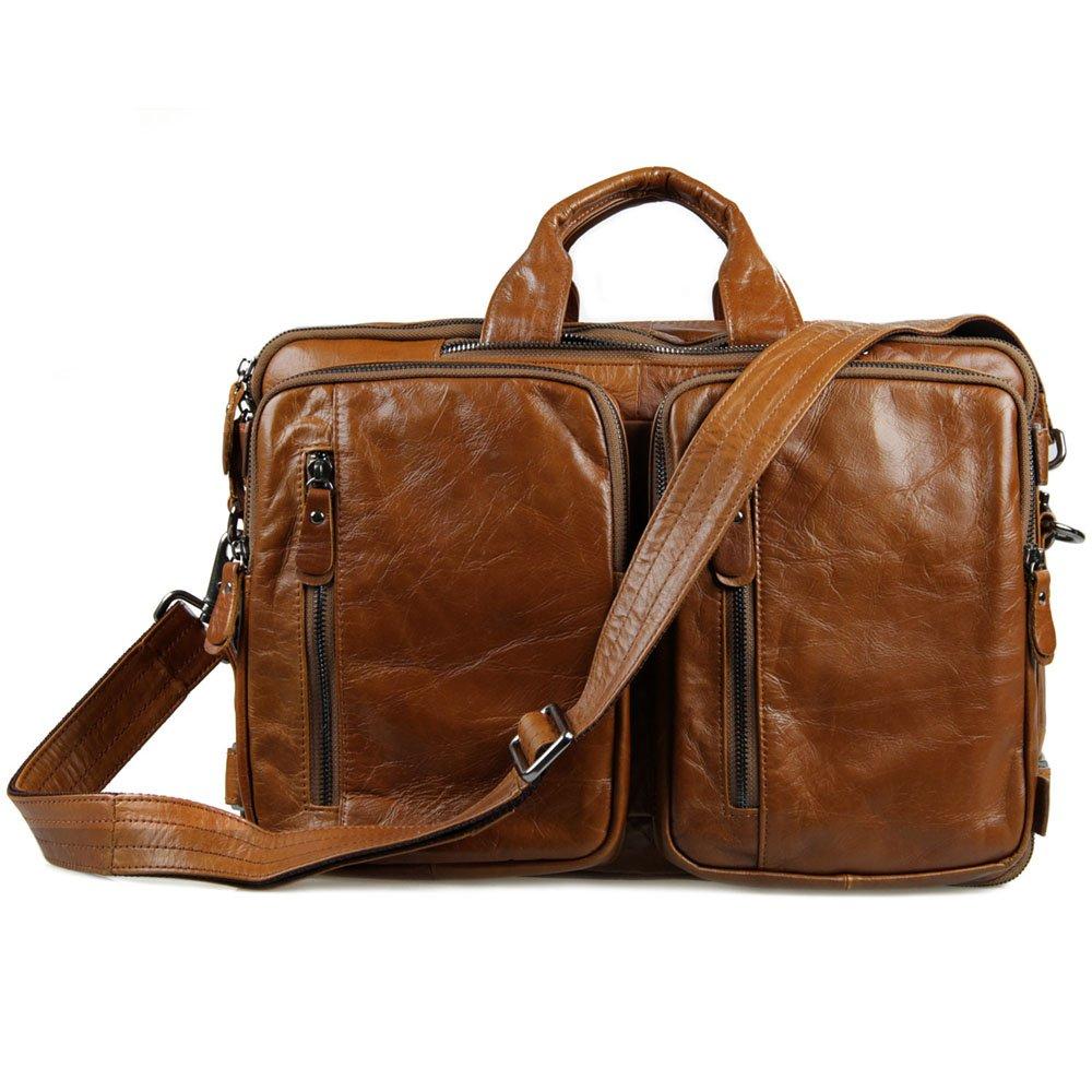 Color : Yellow Leather Briefcase Netbook Shoulder Strap Messenger Messenger Bag