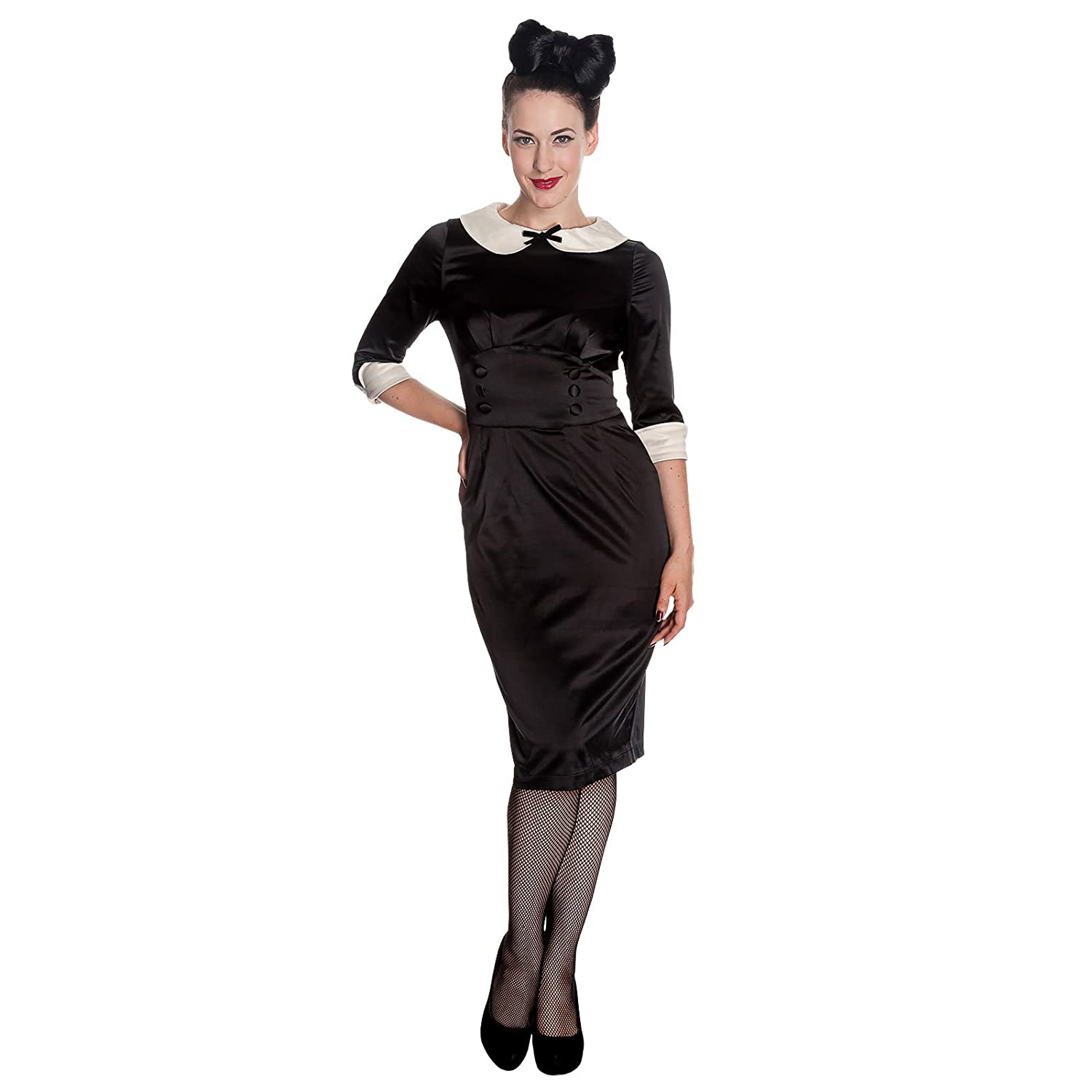 Hell Bunny 50's Money Penny Satin Wiggle Pencil Dress Black