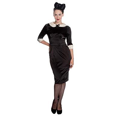2d4a6deb34 Hell Bunny 50's Money Penny Satin Wiggle Pencil Dress Black - UK 8 ...