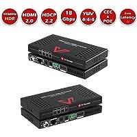 UltraHD HDMI 2.0 Extender HDBaseT Extender, 4K60Hz YUV4:4:4 18Gbps over Single Cat5e/6/7, HDCP2.2 Compliant, Bi-directional PoE & IR Remote, RS232, CEC, HDR10(8bit), Dolby Atmos&DTS, 70M 1080P, 40M 4K