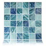 Fertel 10''x10'' Anti-mold Peel and Stick Wall Tiles in Blue (6 tiles)
