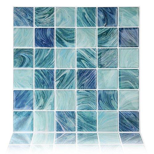 Fertel 10''x10'' Anti-mold Peel and Stick Wall Tiles in Blue (6 tiles) by Fertel