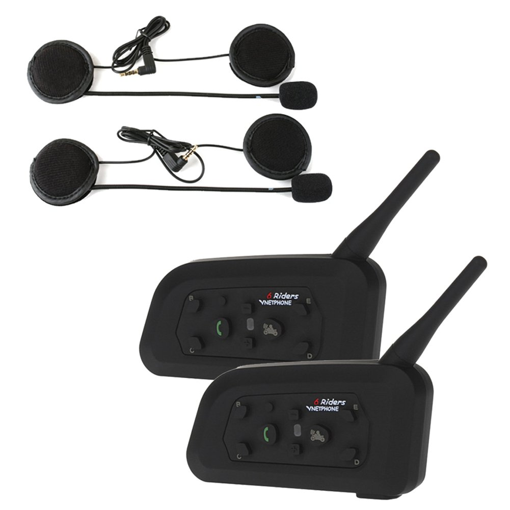 Buyee 2 X Bt 1000m Motorcycle Helmet Bluetooth Intercom Headset Connects Upto 6 Riders
