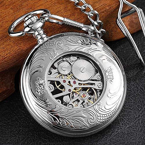 YGB fickur, retro silver hjul ihålig steampunk mekanisk fickur, män vintage skelett män kedja kedja kedja kedja kedja kedja halsband för kvinnor pojkar gåva