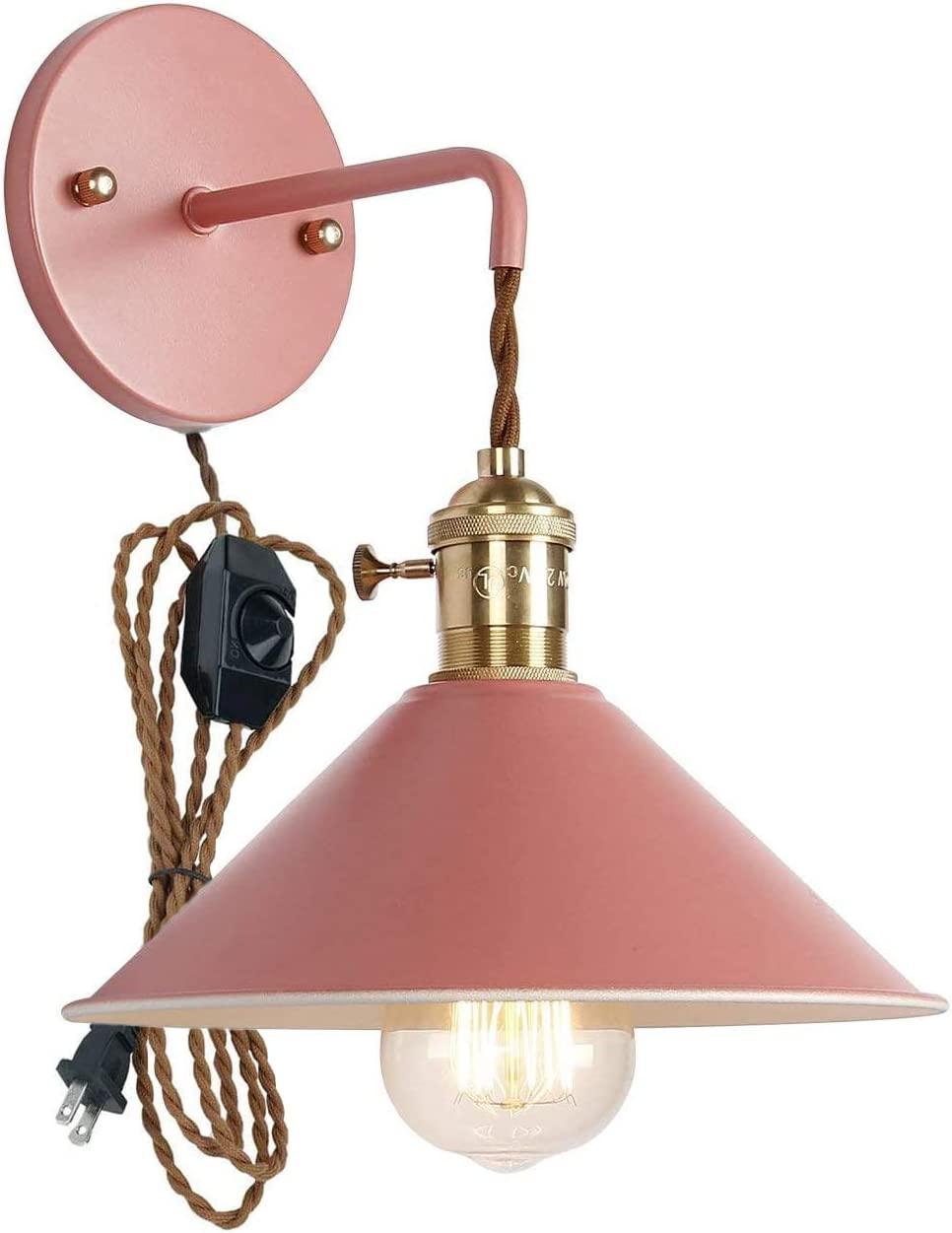 Plug In Dimmable Wall Sconce Lamps Lighting Fixture Within Line Cord Dimmer Switch Pink Macaron Wall Lamp E26 Edison Copper Lamp Holder With Frosted Paint Body Bedside Lamp Bathroom Vanity Lights