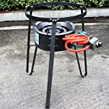 XtremepowerUS Electric Igniter Portable Single Propane Gas Stove Alpha Burner Range Camping Grill Cooking W/Cast Iron Stand
