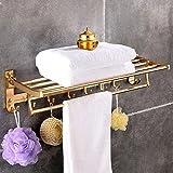 TTAM Double Gold Wall Mount Bathroom Towel Rack Aluminium Rail Holder Storage Shelf Bar with Hooks (Gold)