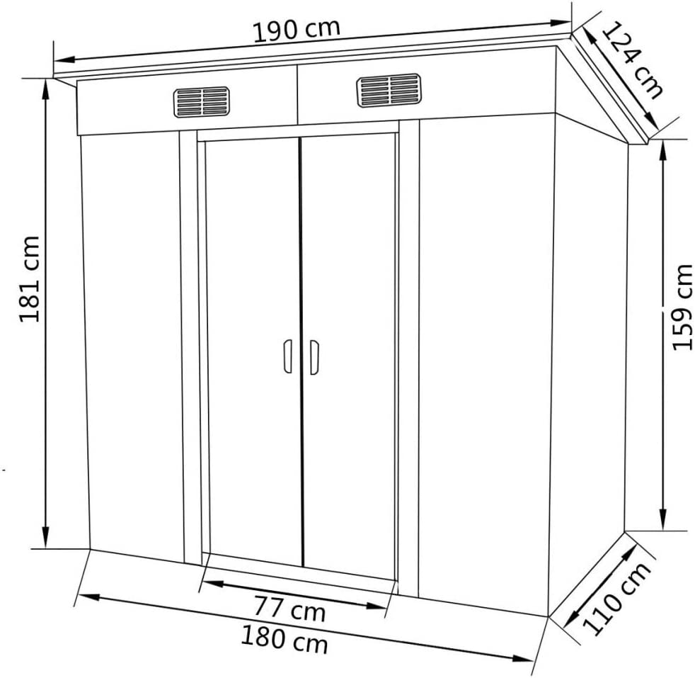 Vert 190x124x181 cm mewmewcat Abri de Jardin en M/étal Rangement Outils et /équipements