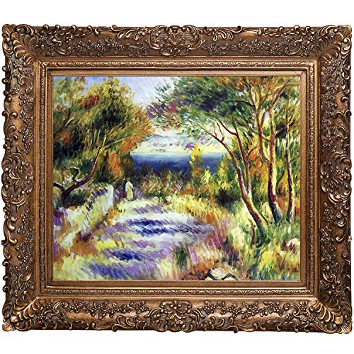 overstockArt Renoir L'Estaque Painting with Burgeon Gold Frame, Organic Pattern Facade with Gold Finish