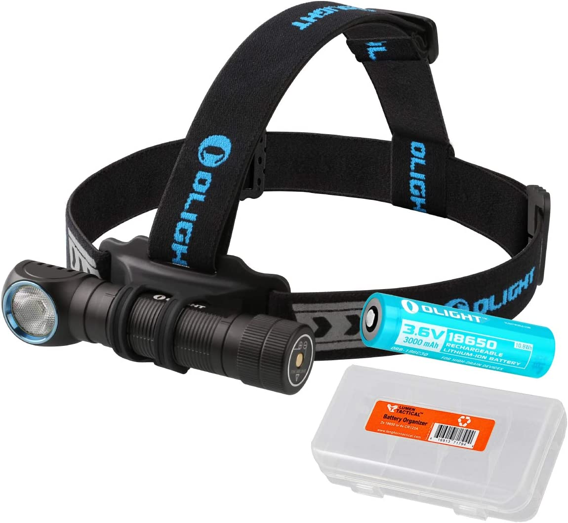 OLIGHT H2R LED Rechargeable Headlamp – Available in 2300 Lumens Cool White or 2000 Lumens Neutral White LED Plus Lumen Tactical Battery Organizer
