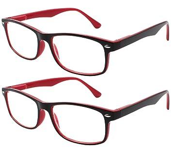 TBOC Gafas de Lectura Presbicia Vista Cansada - (Pack 2 Unidades) Graduadas +2.00 Dioptrías Montura de ...