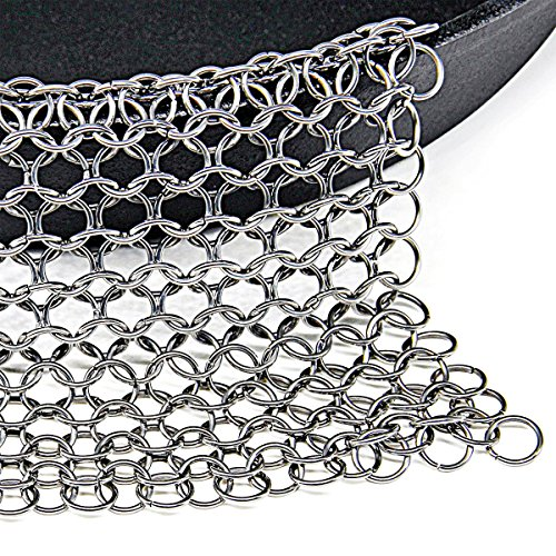 Acrux7 Cast Iron Cleaning Scrubber / Stainless Steel Chainmail Wire Mesh Cleaner / Size: 7 x 7 inch / Clean Skillet, Griddle, Pot, Pan and other Cookware (Stove Mesh)