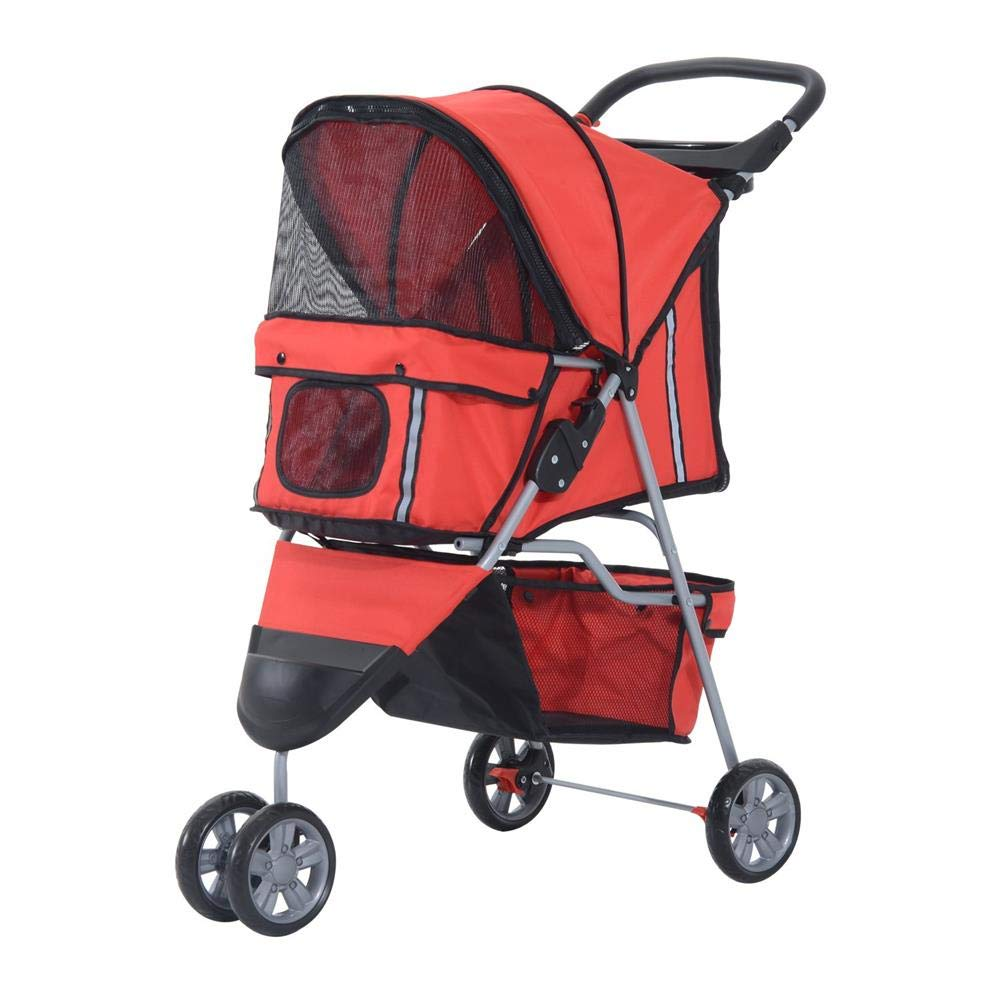 IW.HLMF Pet Travel Stroller Three Wheels Cat Dog Pushchair Trolley, Puppy Carrier,Shockproof,Single Front Wheel 360° redation,Easy Fold&Inssizetion(Red)