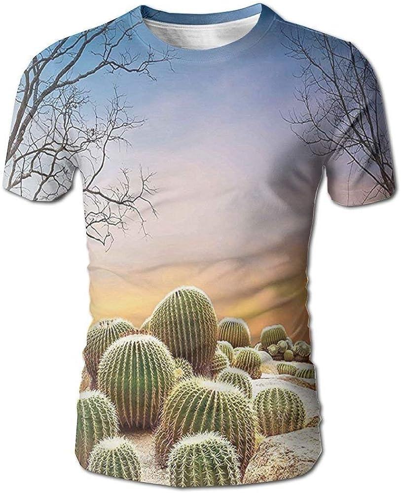 Bolas de Cactus con púas en una Camiseta de Manga Corta de un Hombre del Paisaje Mexicano de la Arena del Desierto de Montain: Amazon.es: Ropa y accesorios