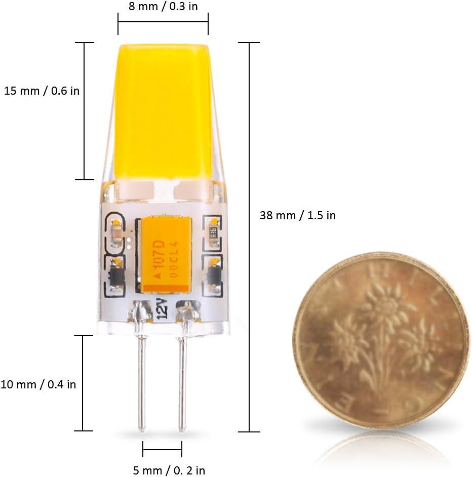 Tomshine G4 LED Bulb 12V Dimmable 2.5W Candelabra Base Bulbs Equivalent Light for Indoor Crystal Chandelier 6 Pack, Warm White
