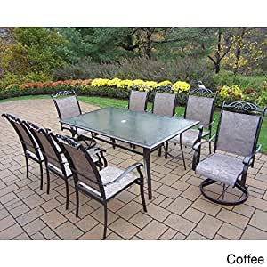 Oakland Living Corporation Aluminum Sling 9-piece Dining Set Brown