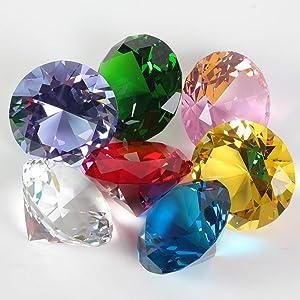 65 Pcs Big Assorted Pirate Gems 38 Carat Acrylic Diamond 32mm Octagonal Treasure Gemstones for Christmas Table Scatter, Vase Fillers, Event, Wedding, Arts & Crafts,Children Birthday Decorations Favor