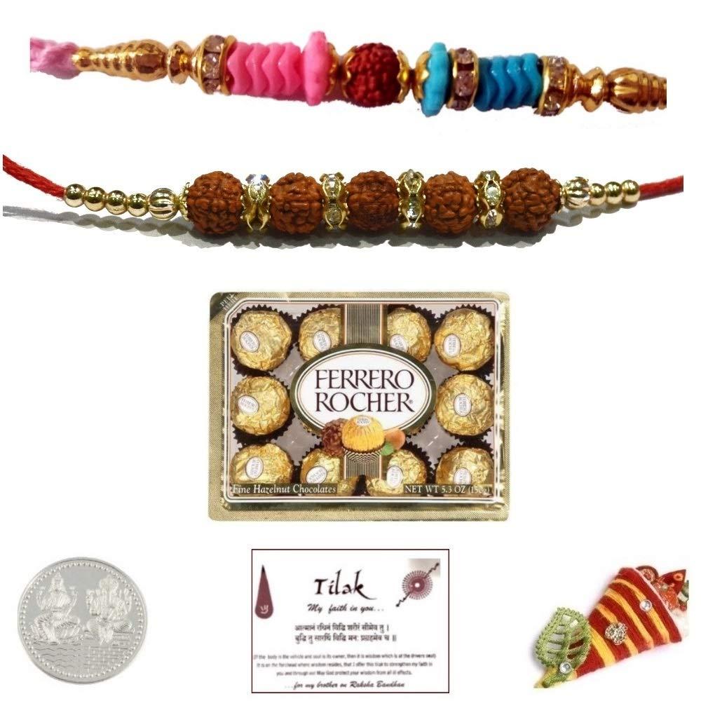 Sendmyrakhi 2 Rudraksh Rakhi Bundle Set with 12 Piece Ferrero Chocolates Pack and Laxmi Ganesh Coin - Exact Designs Will be Sent