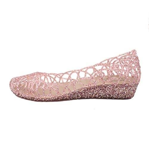47a6a7ff7569 Omgard Womens Hollow Glitter Crystal Ballet Flat Jelly Shoes Pink ...