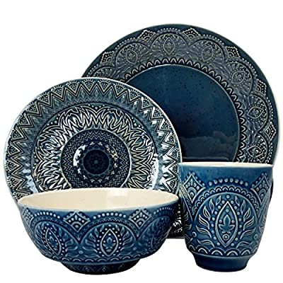 Elama Decorated Round Stoneware Deep Embossed Dinnerware Dish Set, 16 Piece, Dark Navy Blue - ◈A STUNNING ACCENT TO YOUR TABLE◈ The Elama Petra 16 Piece Scallop Embossed Round Stoneware Dinnerware Set in Blue ◈BEAUTIFULLY COLORED◈ In dark Navy Blue, this tableware set will surely set a tone at dinner time ◈A FULL SERVICE FOR 4◈ Each dish is creatively crafted into a unique and contemporary shape, adding a little something more special to meal time - kitchen-tabletop, kitchen-dining-room, dinnerware-sets - 61X8JSJG3%2BL. SS400  -