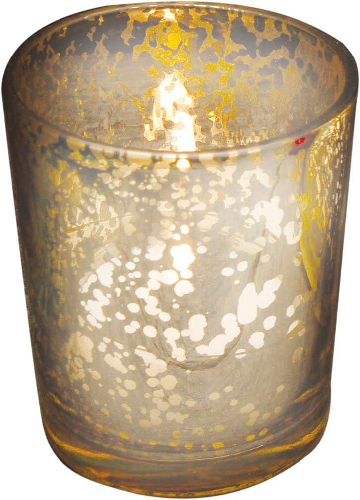 Gold Rustic Glass Votive Candle Holder Holds Tealight or Votive Candles New