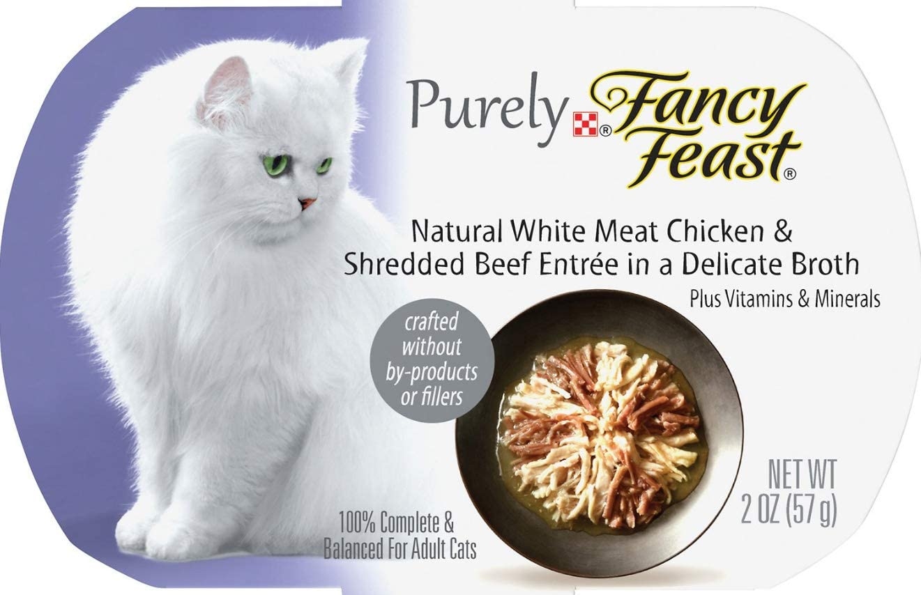 30 Individual Containers of Fancy Feast Purely White Meat Chicken & Shredded Beef Wet Cat Food, 2-oz ea