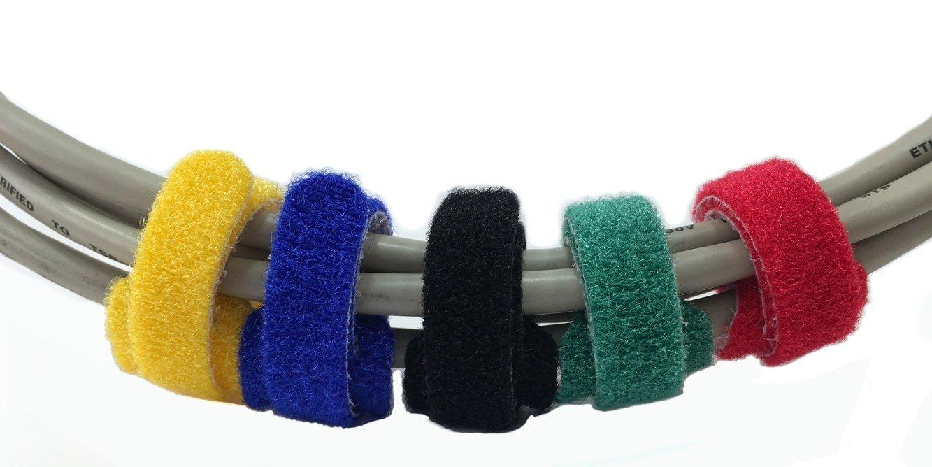 ogni 5 pezzi rosso, giallo, blu, verde e nero 25x Fascette in velcro 20cm colorato assortito 200x12mm con velcro extra forte