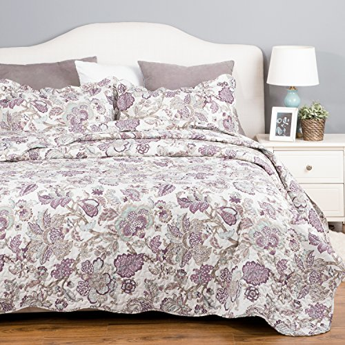 Bedding Quilt Set Luxury Bedroom Bedspread Pastoral Floral Pattern King size 106