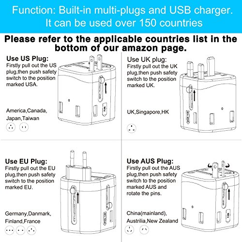 Travel Adapter, IKOCO Worldwide All in One Universal Power Converters with 4.5A Quad USB Fast Charging Ports International Travel Charger Wall AC Power Plug Adapter Wall Charger for Cell Phone Laptop by IKOCO (Image #4)