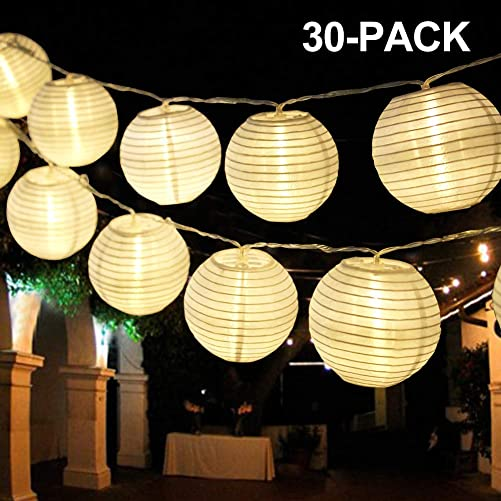 Bright Zeal 20 Long Hanging LED Lantern String Lights Battery Powered – 2PCS 10 White Decorative Lanterns for Indoors String Lights Lantern Outdoor Wedding – Mini Lantern String Lights for Bedroom