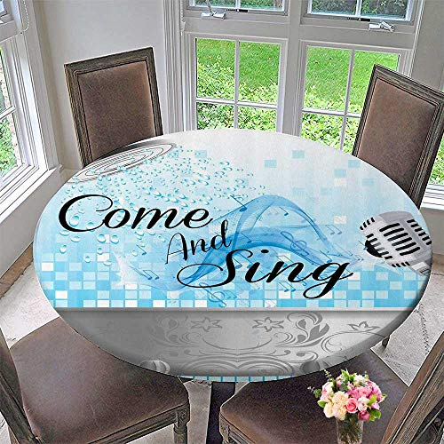 Round Premium Tablecloth atial Quotes Come and Sing Singing Fun Musician Gifts for Men Women Music Lover Musical 47.5
