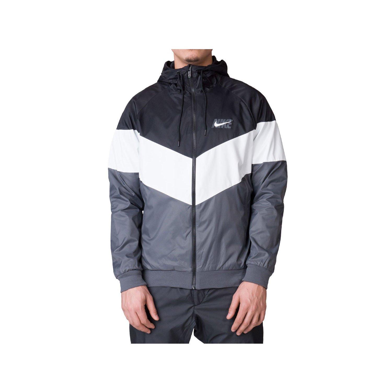 NIKE Mens HD GX Windrunner Hooded Track Jacket Black/Summit White/Dark Grey AJ1396-010 Size X-Large