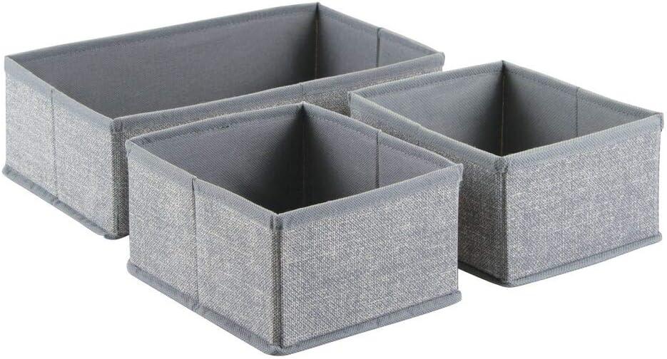 Utensilien grau z.B T/ücher mDesign Aufbewahrungsbox 3er-Set Drei Organizer in zwei Gr/ö/ßen Universelles Aufbewahrungssystem f/ür Zubeh/ör Windeln