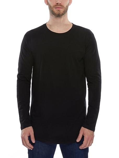 Pro Club Mens Longline Curved Hem Long Sleeve T Shirt Black Medium