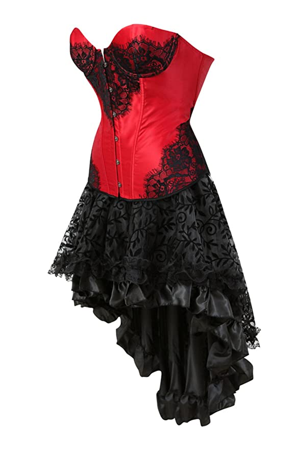 62f86117c1 Grebrafan Women s Satin Overbust Burlesque Lace up Boned Corsets with  Fluffy Pleated Layered Tutu Skirt  Amazon.co.uk  Clothing