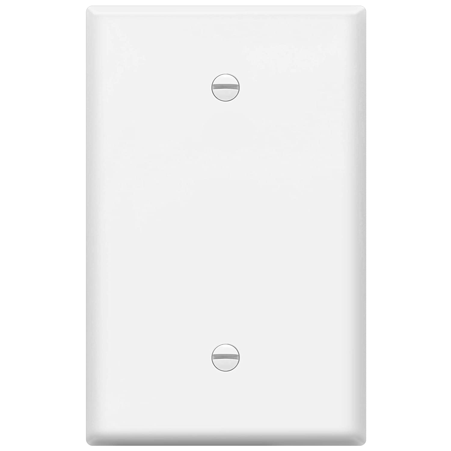 """ENERLITES Blank Device Wall Plate, Over-Size 1-Gang 5.5"""" x 3.5"""", Unbreakable Polycarbonate Thermoplastic, 8801O-W, White"""